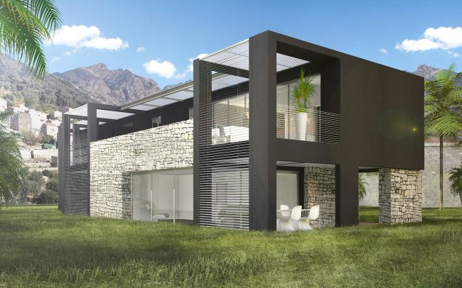 Construction d'une maison contemporaine en corse